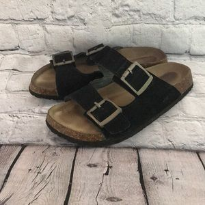 J-41 Anette Black  suede leather slide on shoes
